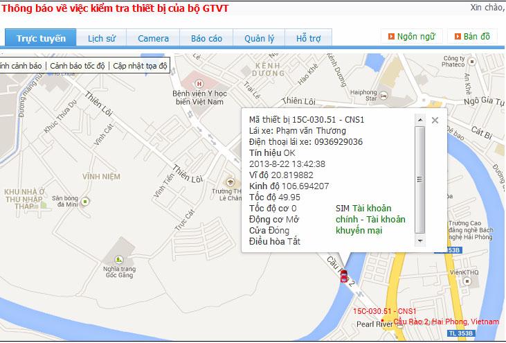 bản đồ thiết bị giám sát hành trình xe ô tô